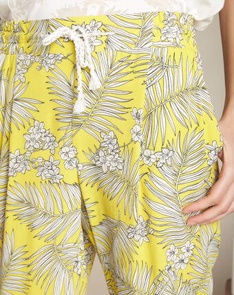 Silae floral printed yellow trousers lemon.