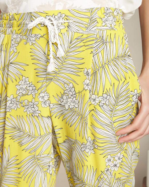 Fließende gelbe Hose mit Blumenprint Silae (2) - 1-2-3