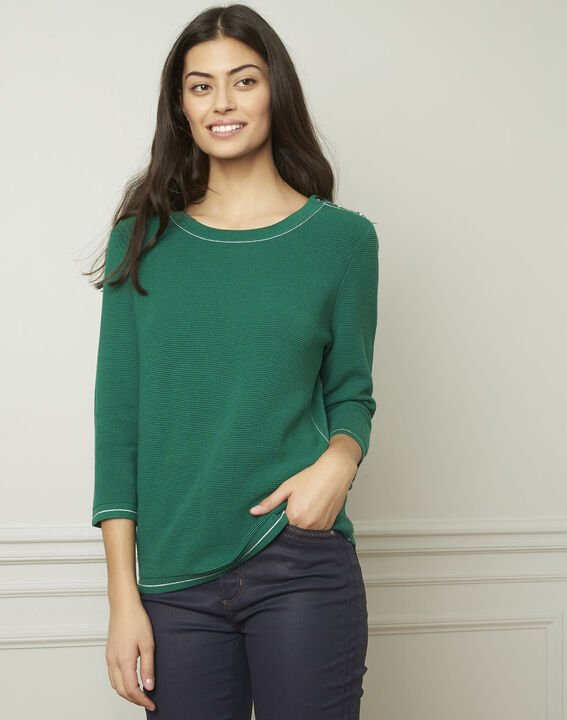 Avocado green pullover with buttons and lurex details (1) - Maison 123
