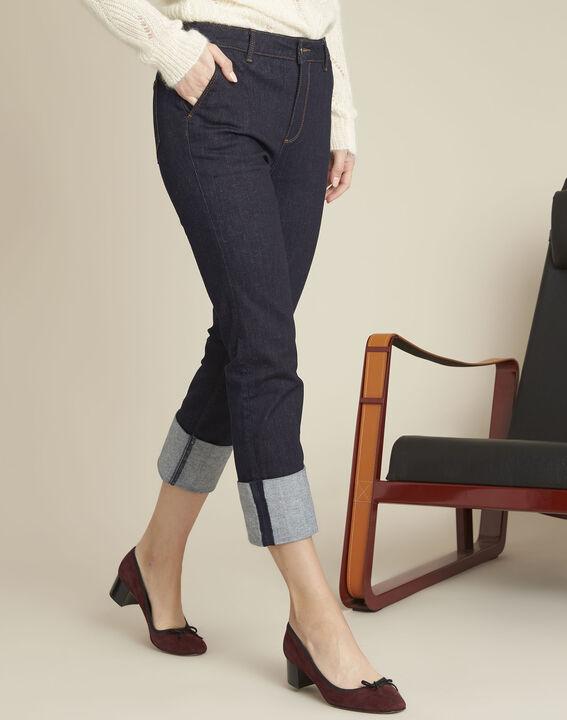 Navy straight-leg cotton-blend jeans (1) - Maison 123