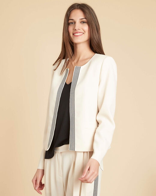Charme ecru short jacket with black bands (2) - 1-2-3