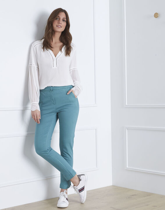 Pantalon vert slim chino Calici (2) - Maison 123