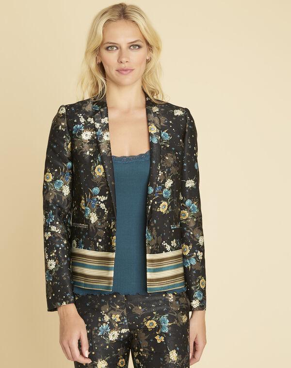 Schwarze Jacke mit Blumenprint Demoiselle (1) - 1-2-3