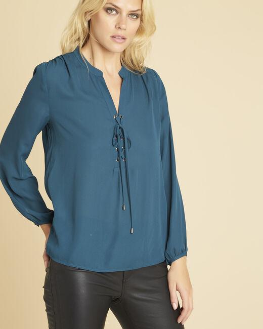 Smaragdgrüne Bluse mit Ösen und Schnüren am Ausschnitt Cheryl (2) - 1-2-3