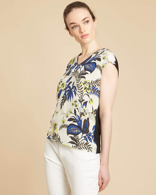 Geptune beige printed dual-fabric blouse (2) - 1-2-3
