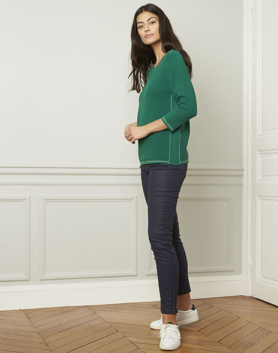 Avocado green pullover with buttons and lurex details (2) - Maison 123