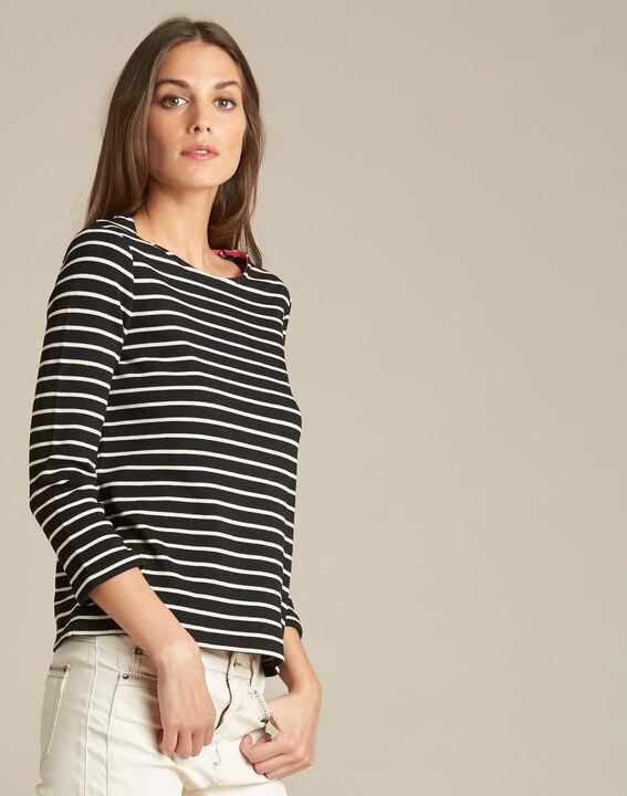 Schwarzes Streifen-T-Shirt mit 3/4-Ärmeln Escadre (3) - 1-2-3