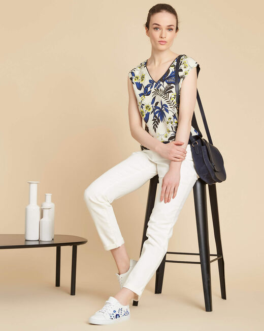 Geptune beige printed dual-fabric blouse (1) - 1-2-3