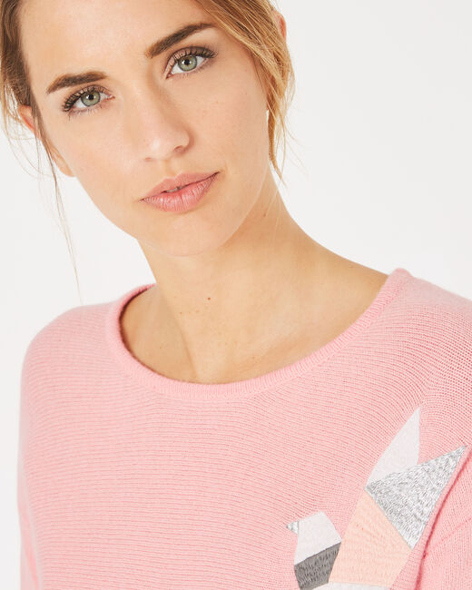 Perdrix pink, embroidered wool-blend sweater (2) - 1-2-3