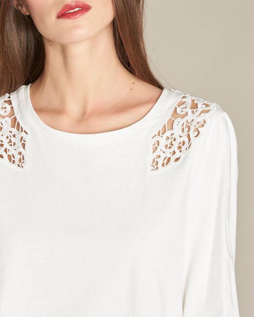 Ecrin ecru T-shirt with lace yoke (2) - 1-2-3