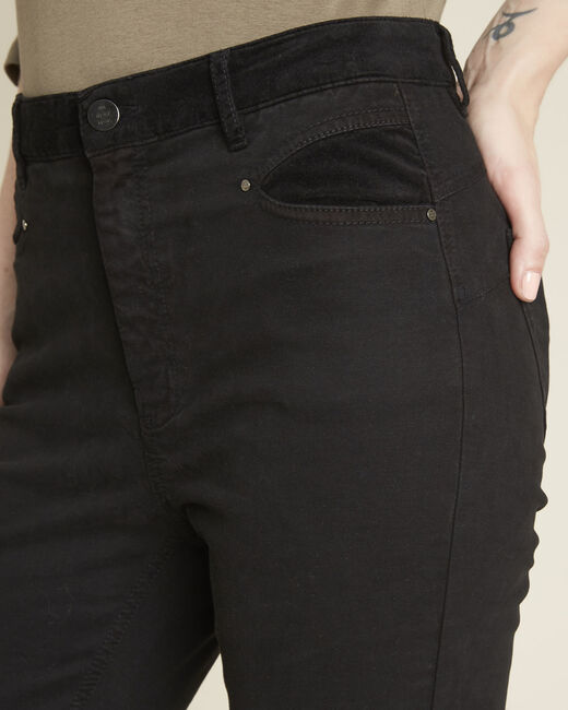 Honoré black slim-fit 7/8 jeans with velvet panels (2) - 1-2-3