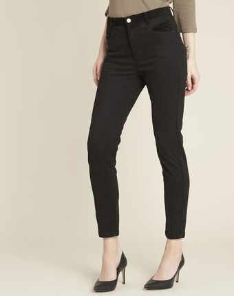 Honoré black slim-fit 7/8 jeans with velvet panels black.
