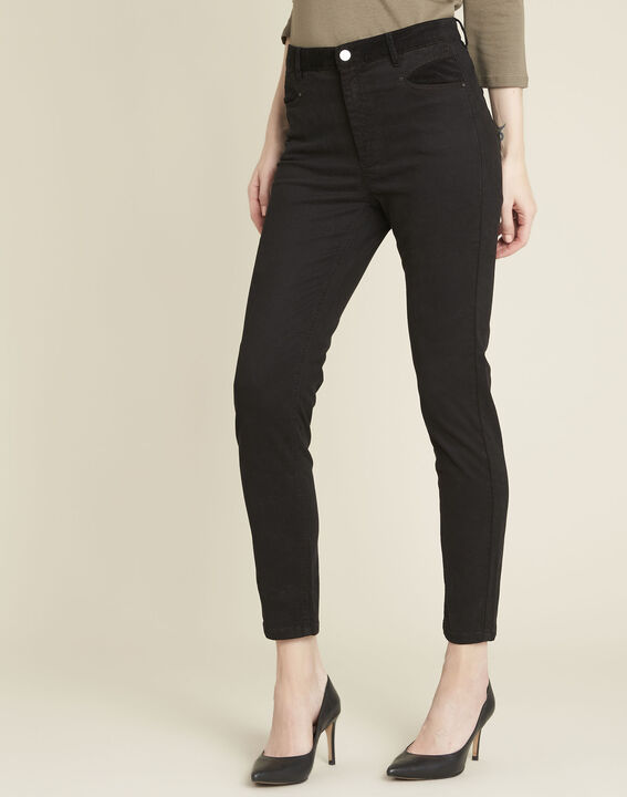 Honoré black slim-fit 7/8 jeans with velvet panels PhotoZ | 1-2-3