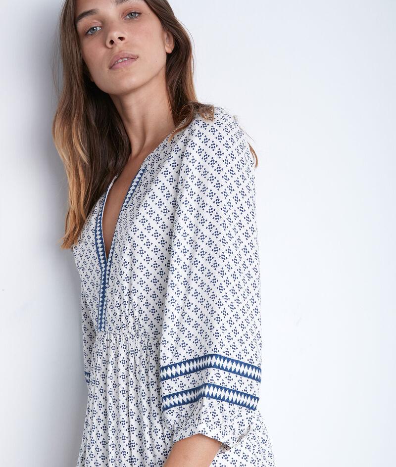 Robe mi-longue et fluide imprimée écrue et bleue Suzanne PhotoZ | 1-2-3