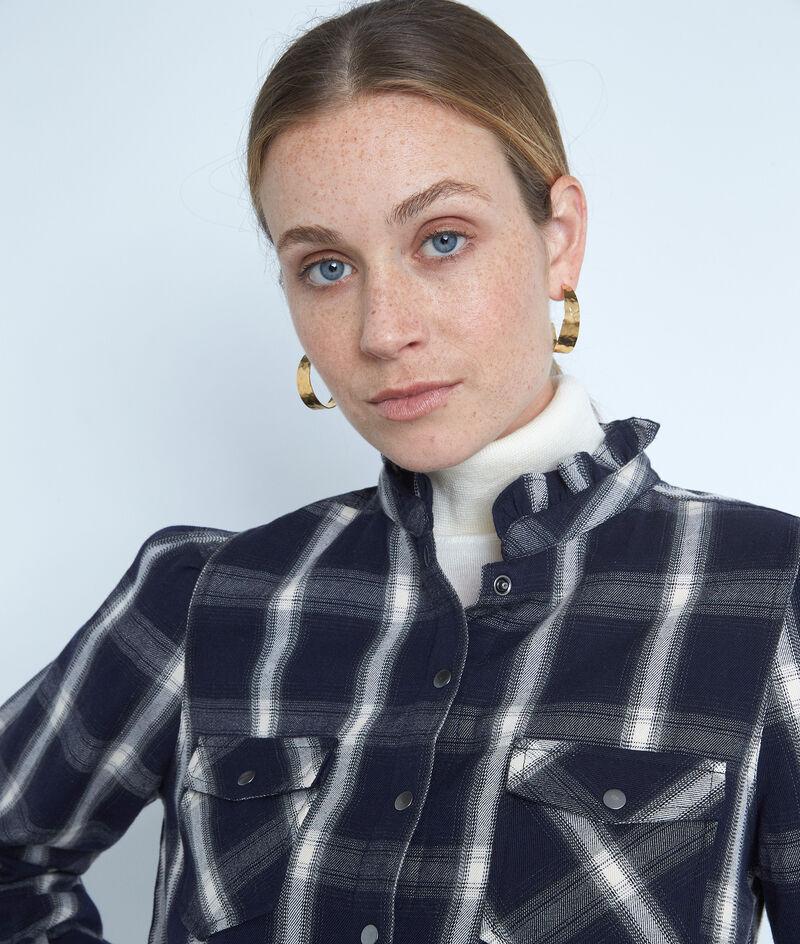 Chemise à carreaux en coton bleu marine et blanche Agathe PhotoZ | 1-2-3