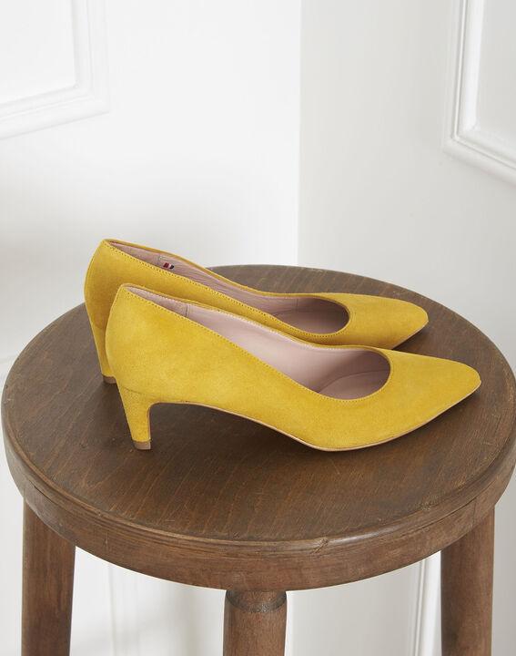 Escarpins jaunes en cuir velours Lili (1) - Maison 123