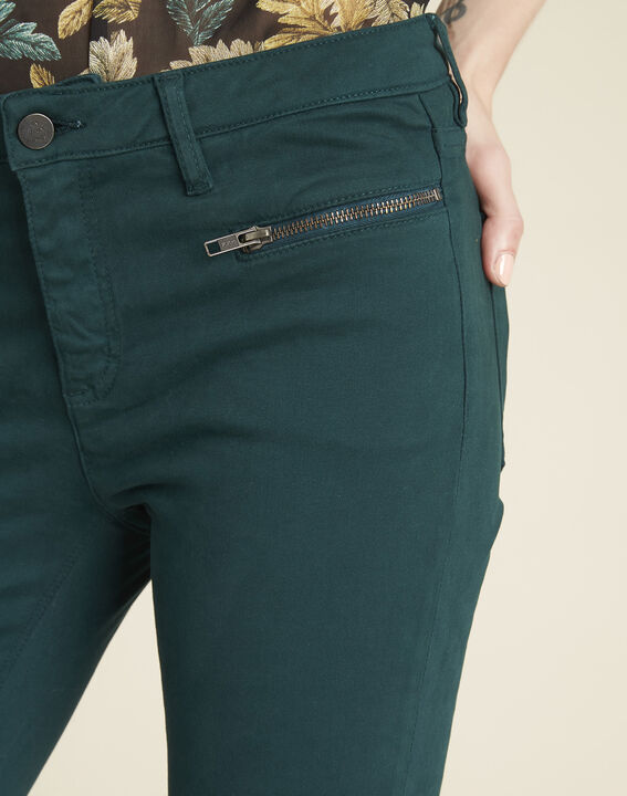 Germain dark green straight-cut jeans with zipped pockets (3) - Maison 123
