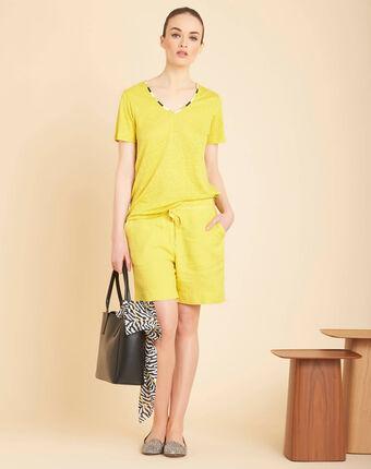 Short jaune en lin citron citron.