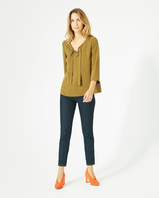 Domino olive blouse with V-neck (2) - 1-2-3