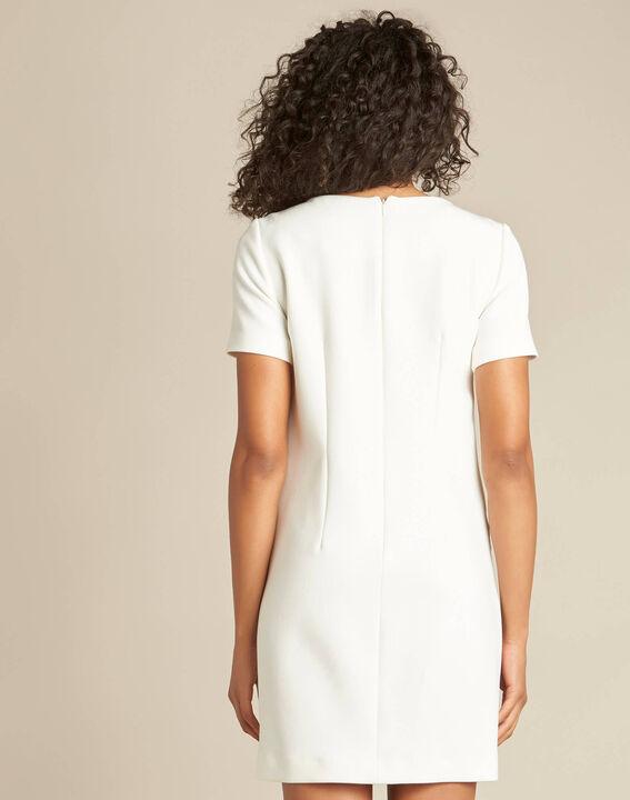 Weißes gerades Kleid mit Reißverschluss-Details Amanda (4) - 1-2-3