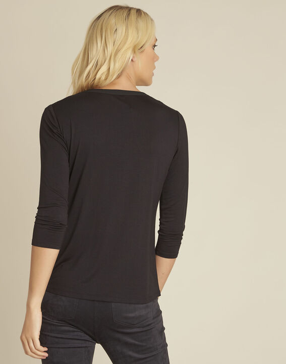 Bianca black T-Shirt with granddad neckline and 3/4 length sleeves (4) - 1-2-3