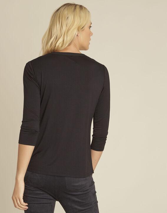Tee-shirt noir col tunisien manches 3/4 Bianca (4) - 1-2-3