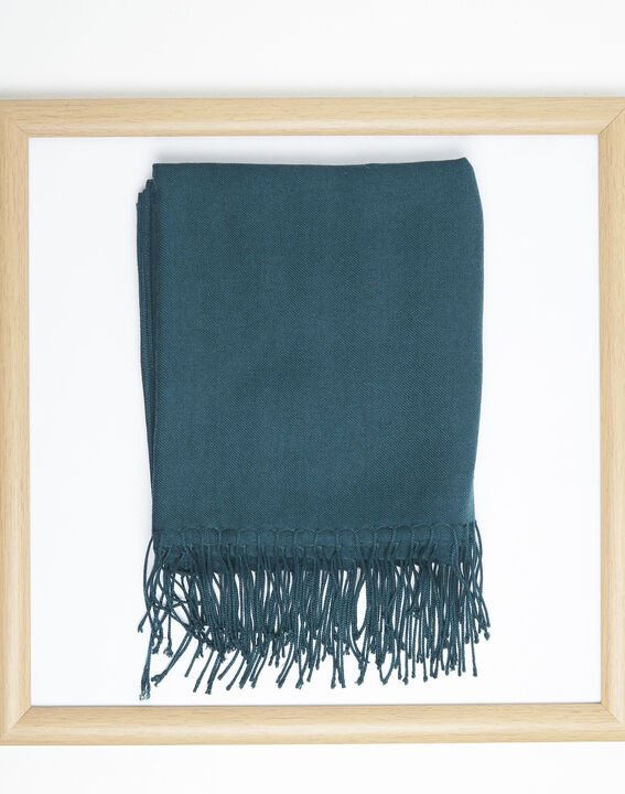 Fossette emerald viscose fringed scarf  PhotoZ | 1-2-3