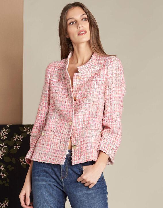 Veste rose pâle en tweed et boutons dorés Cookie (3) - 1-2-3