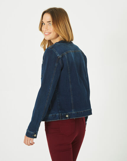 Jeansjacke mit geflochtenem Kragen Uma (4) - 1-2-3