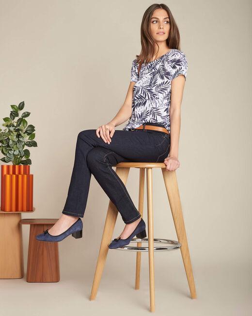 Blaues Leinen-T-Shirt mit Palmenprint Eve (2) - 1-2-3