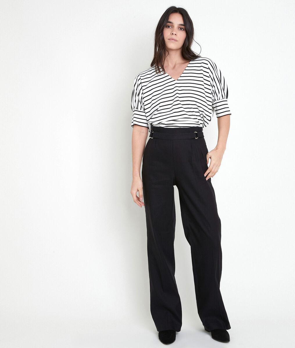 Pantalon large en lin mélangé noir Filipo PhotoZ | 1-2-3