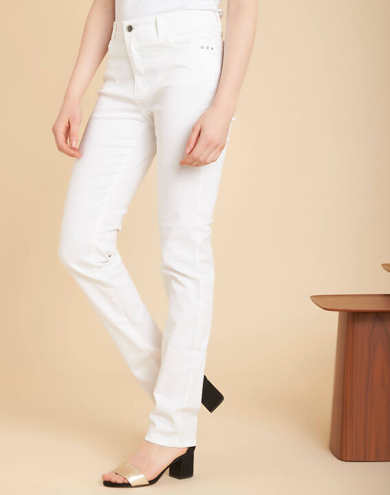 Valley regular fit white slim-cut coated jeans (3) - 1-2-3