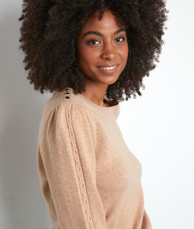 Pull à manches bouffantes beige Trystan PhotoZ   1-2-3