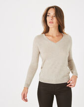 Pull beige col v cachemire paquerette beige.