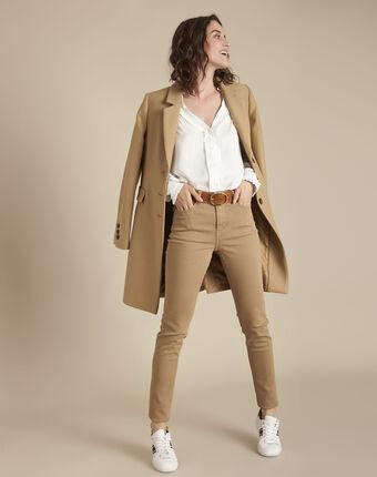 Manteau beige en laine mélangée plume bouton d`or.