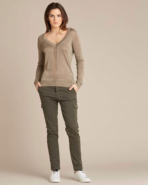Khakifarbener glänzender Pullover mit Ajour-Streifen Noisetier (2) - 1-2-3