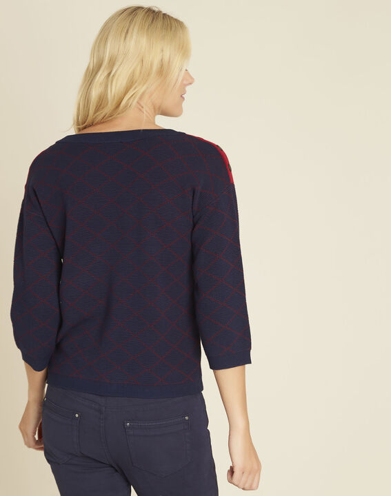 Bridge navy check sweater with buttons on the shoulders (4) - 1-2-3