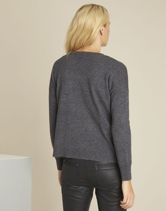 Baltic grey wool cashmere pullover with faux leather pocket (4) - Maison 123