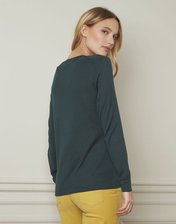 Bergamote green V-neck viscose blend pullover (3) - Maison 123