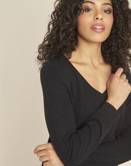 Pivoine black V-neck sweater in cashmere (1) - 1-2-3