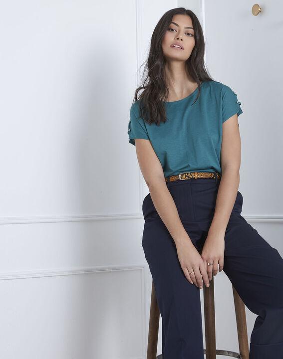 Tee-shirt vert détails épaules Palmbeach (1) - Maison 123