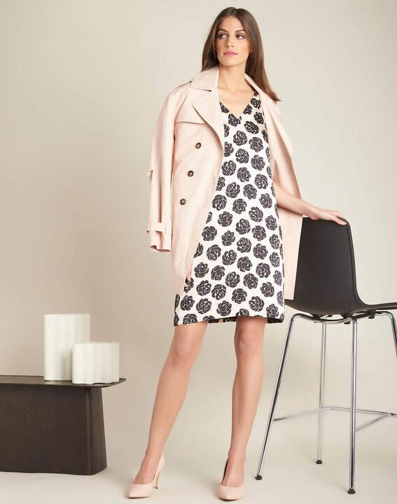Nudefarbenes Kleid mit Blumenprint Ideal (2) - 1-2-3