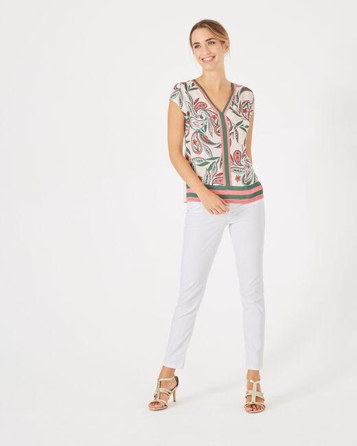 Tee-shirt kaki imprimé fleurs Banjo (2) - 1-2-3