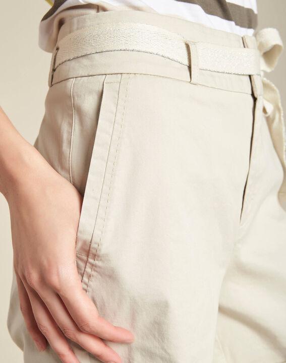 Ecrufarbene Baumwoll-Shorts James PhotoZ | 1-2-3