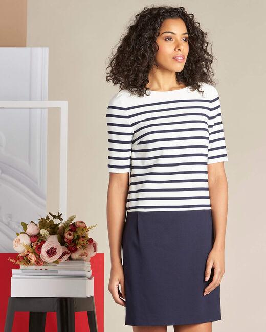 Marineblaues gerades Streifen-Kleid Petite (2) - 1-2-3