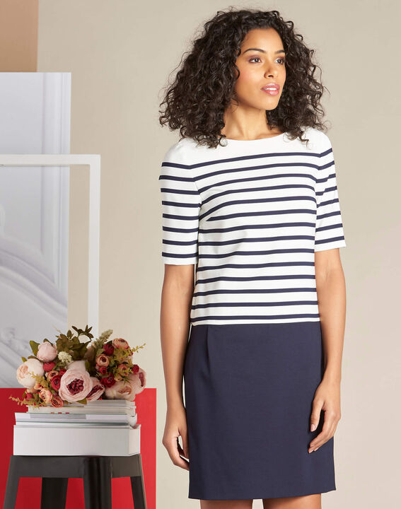 Petite striped navy blue straight-cut dress (3) - 1-2-3