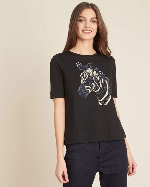 Schwarzes besticktes T-Shirt mit Zebra-Motiv Energy (2) - 1-2-3