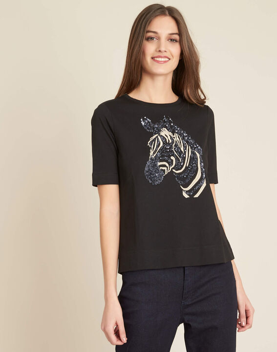 Energy black T-shirt with embroidered zebra pattern (3) - 1-2-3