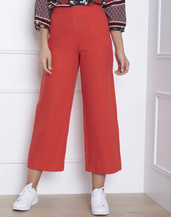 Pantalon rouge court en lin Ghazala PhotoZ | 1-2-3