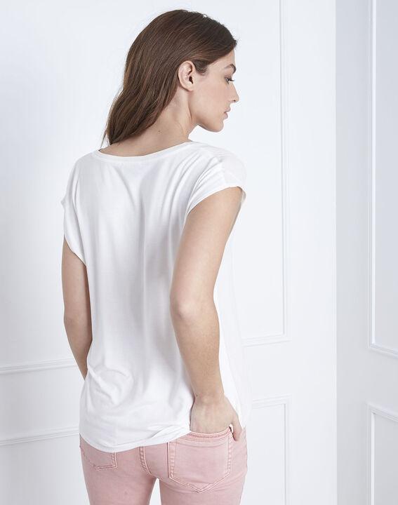 Beige Bluse aus zwei Materialien mit tunesischem Kragen Vanissa (4) - Maison 123